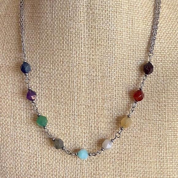 Chakra Healing Necklace Genuine star cut gemstones